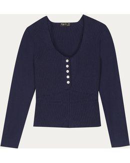 Blue Wollen Corset Pullover