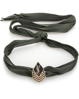 'army Braided' Plaque Necklace