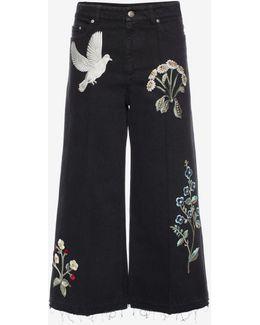 Embroidered Denim Culottes