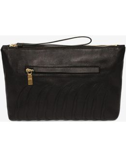 Leather Rib Cage Zipped Pouch