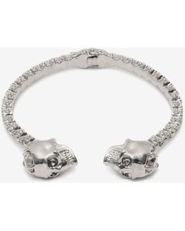 Jewelled Twin Skull Bangle