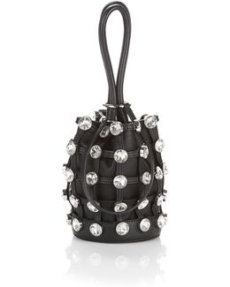 Roxy Mini Bucket Bag In Black With Glass Stones