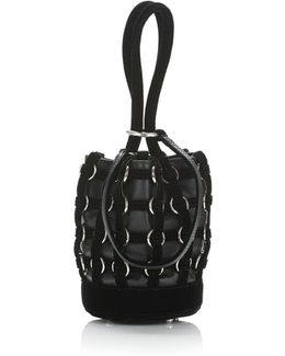 Caged Roxy Mini Bucket In Black With Rhodium
