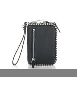 Large Fumo Wallet In Pebbled Black With Ball Studs