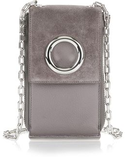 Riot Shoulder Wallet In Grey Suede With Rhodium