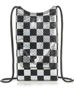 Dime Neck Wallet In Checkerboard Elaphe
