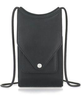 Dime Neck Wallet In Pebbled Black