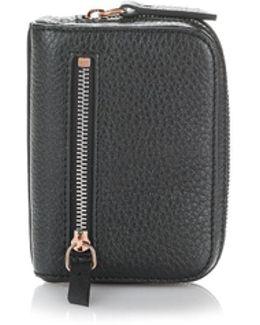 Fumo Mini Zip Around Wallet In Pebbled Black