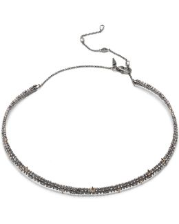 Crystal Encrusted Spike Accented Choker Necklace You Might Also Like