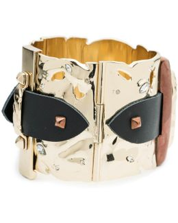 Large Hinged Leather Detail Buckle Cuff Bracelet You Might Also Like