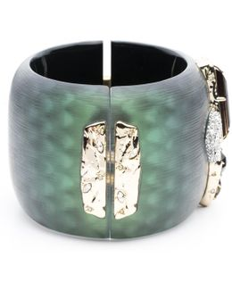 Wide Lucite Hinge Bracelet With Rocky Stone And Pave Detail You Might Also Like