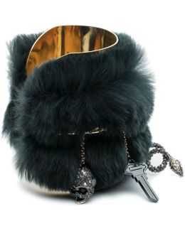 Charm Cuff Bracelet With Fur Detail You Might Also Like