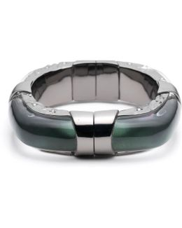 Large Soft Square Lucite Bangle With Rocky Metal Detail You Might Also Like