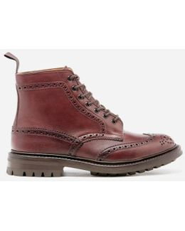 Men's Stow Leather Commando Sole Lace Up Brogue Boots