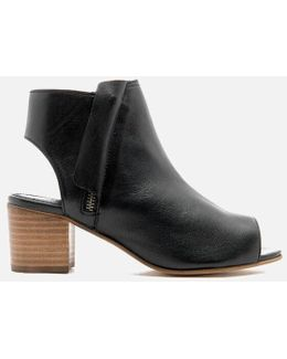 Joanna Peep Toe Leather Ankle Boots