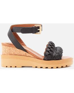 Women's Leather Wedged Sandals