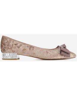 Women's Bow Bela Velvet Pointed Flat Shoes