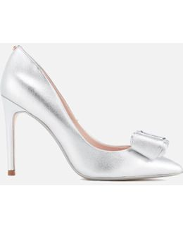 Women's Azeline Double Bow Leather Court Shoes
