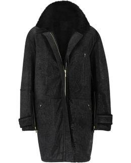 Yuma Black Oversized Sheepskin Coat