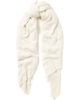 Oversized White Cashmere Scarf