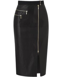 North Shore Black Leather Skirt