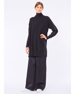 Black High Neck Long Jumper With Pleated Back Detail
