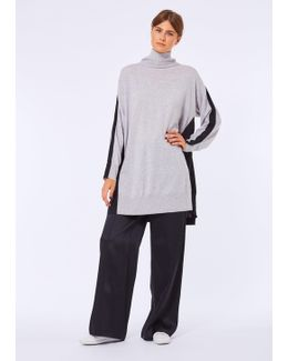 Grey & Black High Neck Long Jumper With Pleated Back Detail