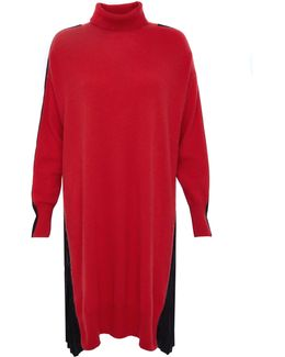 Red & Black High Neck Long Jumper With Pleated Back Detail