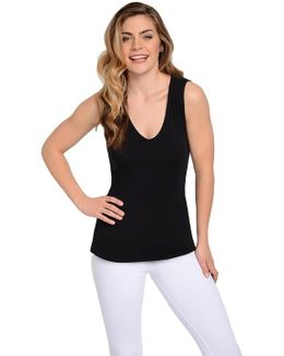 V Neck Hip Tank With Back Beautiful Technology In Black