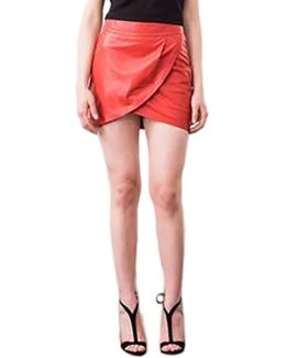 Tulip Leather Mini Skirt In Red