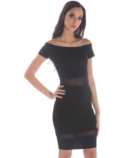 Devon Polka-Dot Mesh Stretch-Crepe Dress