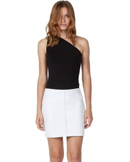 7 Mile Beach Faux Leather Skirt In White