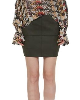 Whistle While You Work Mini Skirt In Olive