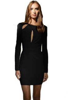 Moore Long Sleeve Cut Out Mini Dress In Black
