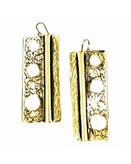 Sibilla G Oxidized Brass Rectangular Earrings