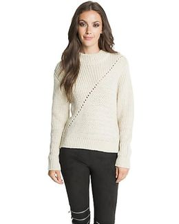 Leigh Back Zip Sweater In Natural