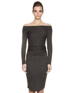 Angelina Long Sleeve Off The Shoulder Midi Dress