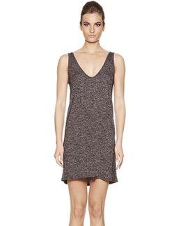 Catalinia Deep Scoop Neck Slip Dress In Dapple