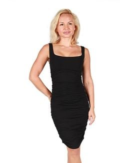 Tees Ruched Sleeveless Dress In Black