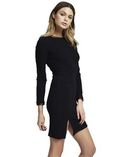Tees Long Sleeve Knit Dress With Faux Leather Trim In Black