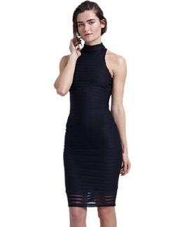 Racer Mock Neck Midi Dress In Black