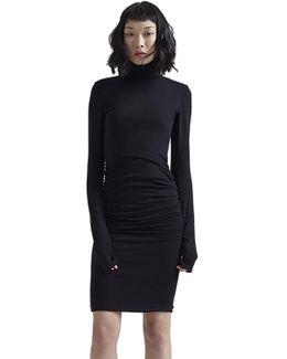 Long Sleeve Turtleneck Shirred Dress In Black