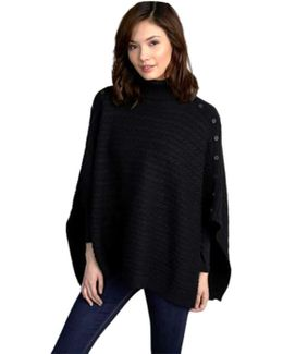Cable Poncho In Black