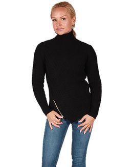 Turtleneck Sweater With Zipper Detail In Black