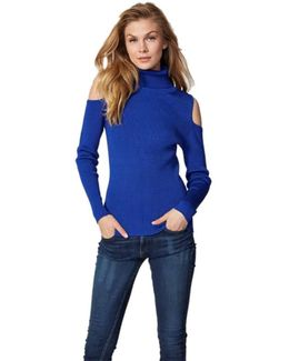 Cold Shoulder Turtleneck Sweater In Cobalt Blue