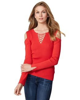 Ribbed Eyelet Lace Up Sweater In Cherry Tomato