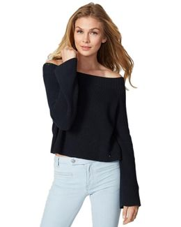 Cotton Shaker Off-the-shoulder Sweater In Navy