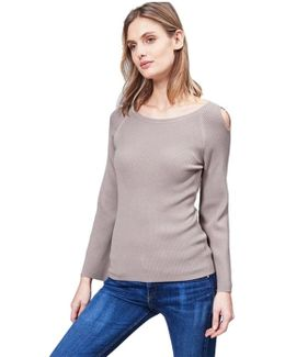 Ribbed Bell Sleeve Top With Shoulder Cutouts In Beechwood