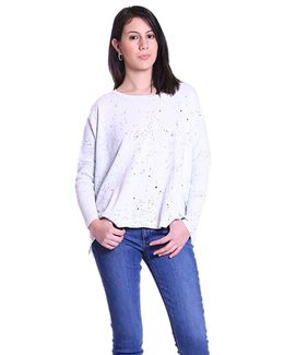 Splatter Boxy Crop Sweater In Bleach White
