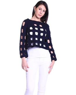 Pointelle Square Sweater In Navy